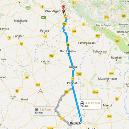 Delhi to Chandigarh Route